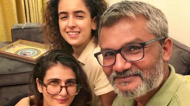 Nitesh Tiwari with Fatima Sana Shaikh and Sanya Malhotra.
