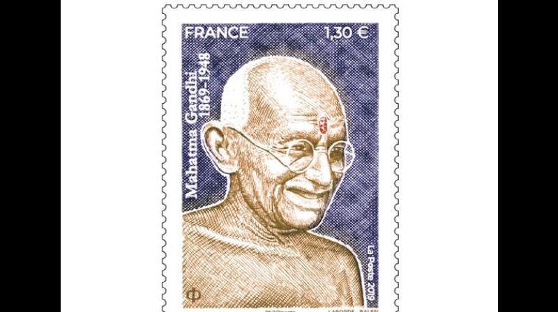 A postage stamp bearing the image of Mahatma Gandhi. (Photo: ANI)