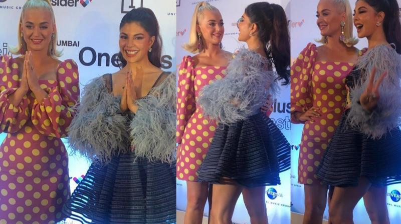 Jacqueline Fernandez with Katy Perry at the press conference in Mumbai.