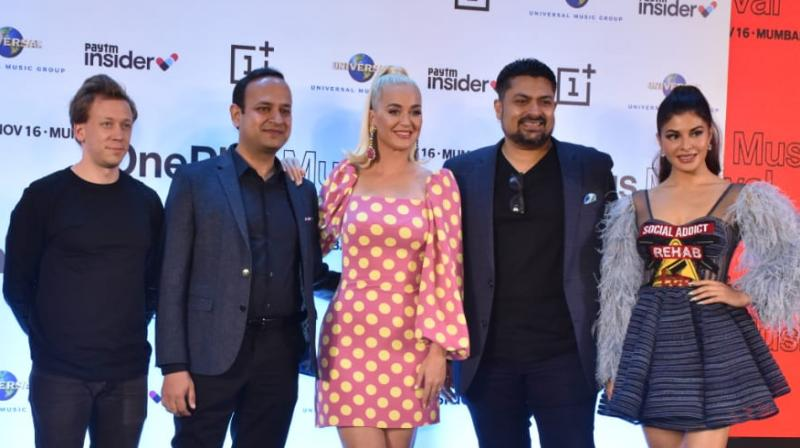 Katy Perry, Vikas Agarwal, Tilen Pigac, Devraj Sanyal, and Jacqueline Fernandez at the OnePlus Music Festival press conference in Mumbai. (Photo Courtesy: Viral Bhayani)