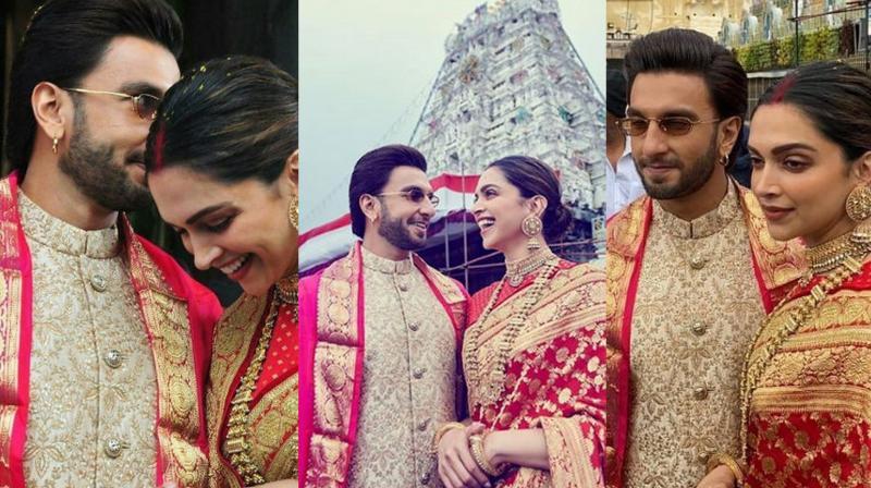Deepika Padukone and Ranveer Singh at Tirupati temple. (Photo Courtesy: Instagram/ teamdeepikain)