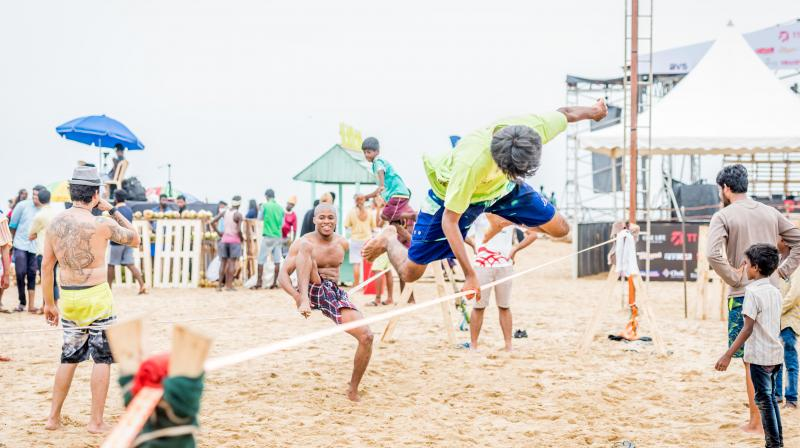 The three day festival, which culminates on August 27, included a slack lining competition, along with some Yoga sessions from some trainers like Rino Freidman, Mahesh among others.(Photo: Covelong festival)