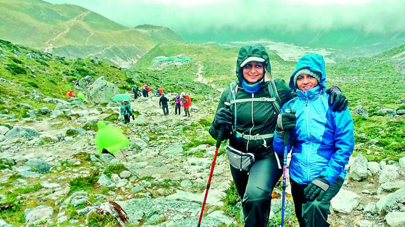 Avid traveller Savita Reddy with Sujatha Bharadwaj, while on a trek.