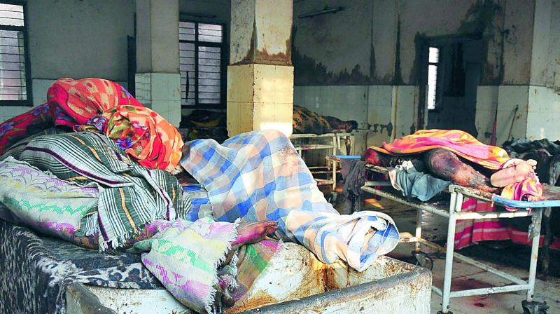Unclaimed bodies piled up at the Osmania General Hospital mortuary on Saturday. (Photo: DC)