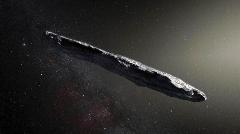 This artist's rendering shows the first interstellar asteroid: 'Oumuamua. This unique object was discovered on Oct. 19, 2017 by the Pan-STARRS 1 telescope in Hawaii. (Photo: AP)