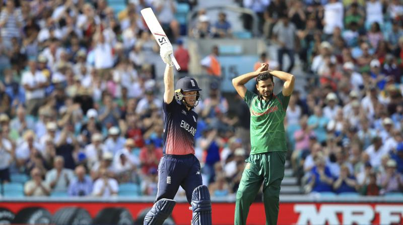 England's Eoin Morgan celebrates reaching 50 during the ICC Champions Trophy cricket match between England and Bangladesh, at the Oval cricket ground, in London Thursday June 1, 2017. (Photo: AP)