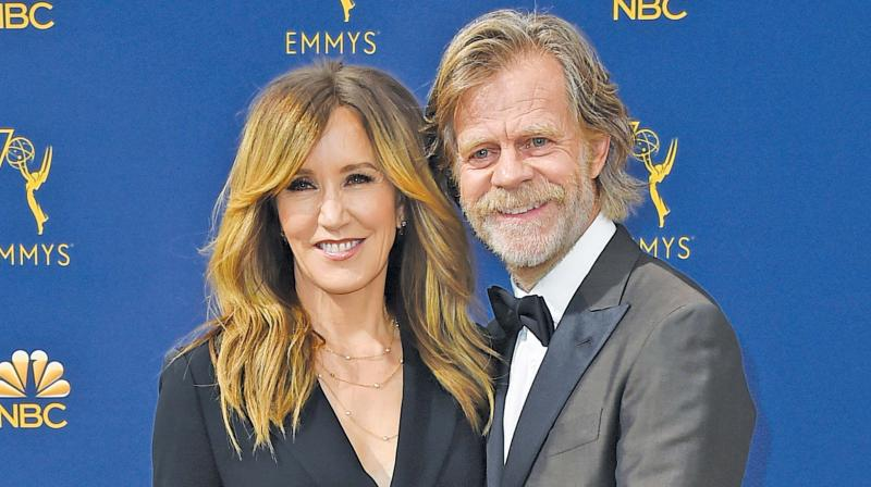 File photo of Felicity Huffman and husband William H. Macy. (Photo: AP)