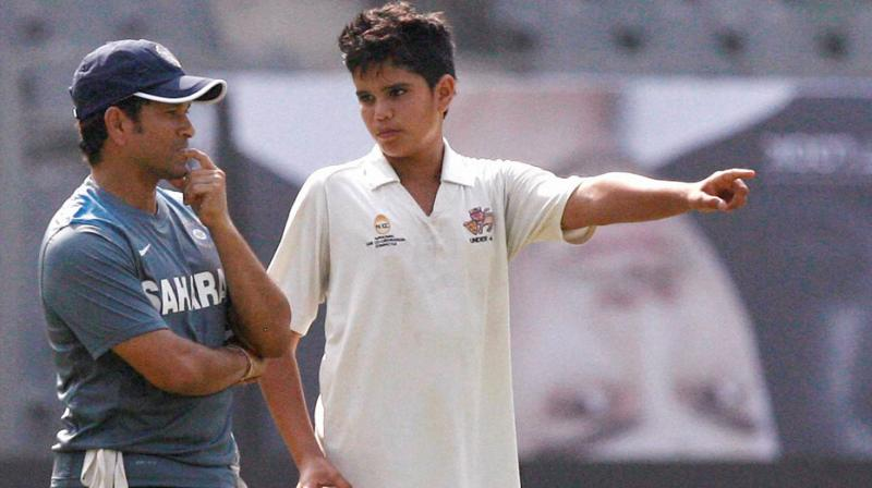 An all-rounder who bowls and bats left-handed, Arjun has been playing junior cricket for Mumbai. (Photo: PTI)