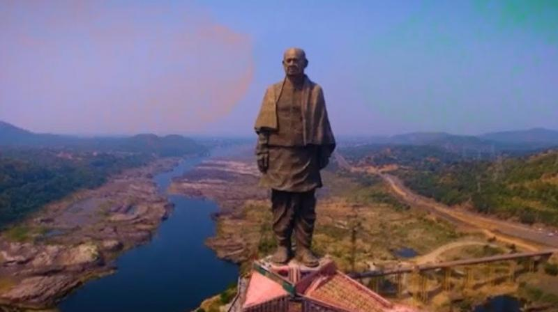 PM Modi dedicated the 597 feet or 182-metre statue of Sardar Vallabhbhai Patel to the nation on his 143rd birth anniversary in Gujarat's Narmada district. (Photo: Twitter | @narendramodi)