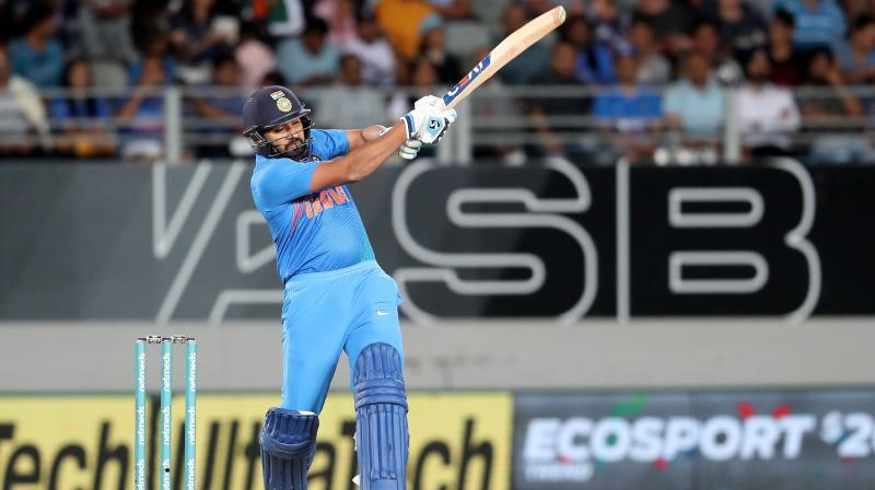 Rohit Sharma departed after scoring his 16th T20I fifty. (Photo: AFP)