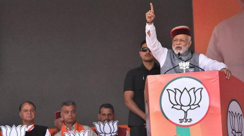 Prime Minister Narendra Modi addresses a rally in Una in Himachal Pradesh. (Photo: PTI)