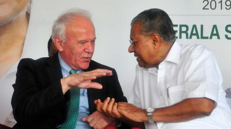 Chief Minister Pinarayi Vijayan with Dr. William Hall, School of Medicine, University College, Dublin at  the inauguration of the Institute of Advanced Virology ( IAV) phase 1A building at Thonnakkal in Thiruvananthapuram on Saturday.  —A.V. MUZAFAR