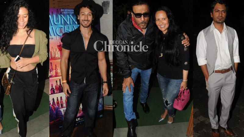 Tiger and Krishna Shroff's parents Jackie and Ayesha joined the team of their film 'Munna Michael' for a bash late Monday in Mumbai. (Photo: Viral Bhayani)