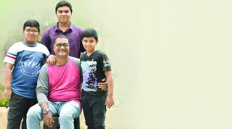 Preetam Venglet with his children.