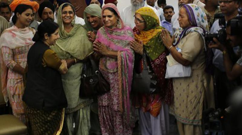External Affairs Minister Sushma Swaraj, meets family members of missing Indians in Iraqi town of Mosul. (Photo: AP)