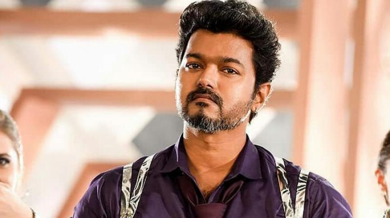 A still of Vijay from Sarkar.