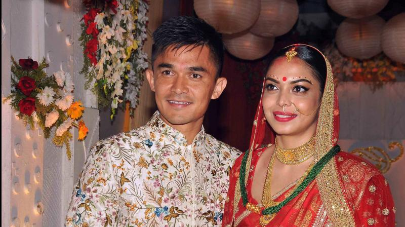 Sunil Chhetri,the poster boy of Indian football, was seen in a traditional Nepali attire topped with a 'topi' (hat) as he made an entry riding a horse in the evening.(Photo: PTI)