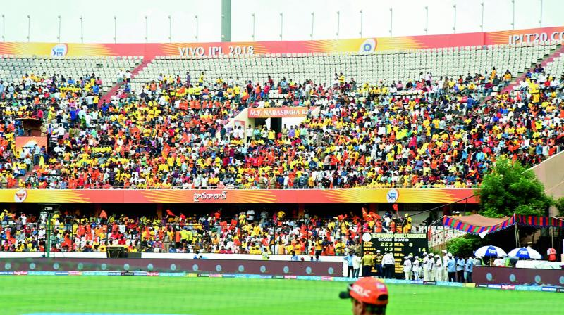 Viewers in the east and west stands without a roof at the Uppal stadium are at the risk of getting a sunburn or sunstroke.   (Image: DC)