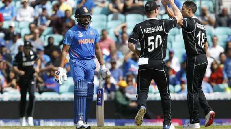 India, in imperious form, registered a 4-1 victory in the one-day series and prevailed 2-1 in the Twenty20 Internationals in New Zealand earlier this year. Rohit Sharma is walking bakc to pavilion after being dismissed by Trent Boult during India versus New Zealand World Cup Warm up match. (Photo:AFP)