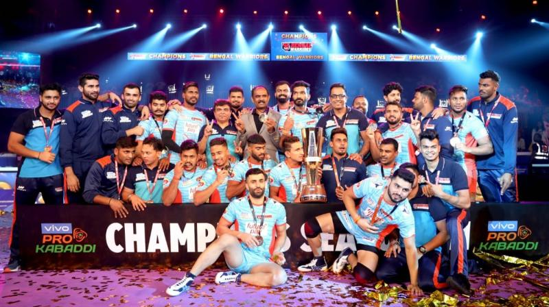 A clinical Bengal Warriors on Saturday clinched their maiden Pro Kabaddi League title by defeating Dabang Delhi 39-34 in a pulsating summit clash in Ahmedabad. (Photo: Bengal Warriors Twitter)