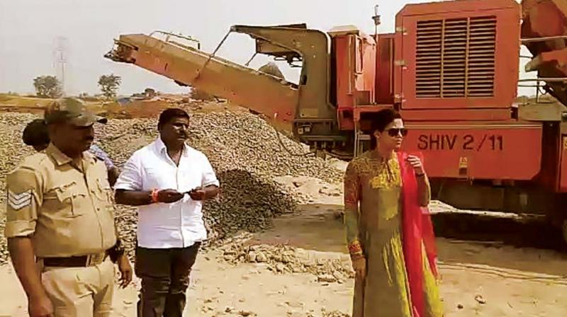 A file photo of Hassan DC Rohini Sindhuri duirng a raid on a mining area in Chigalli on January 29 this year