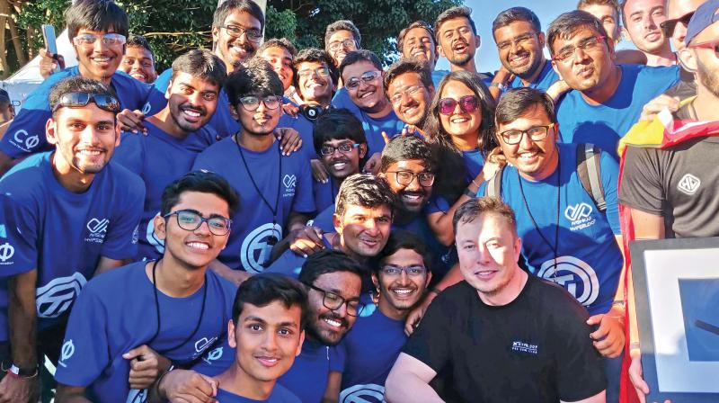 IIT Madras' Avishkar Hyperloop team with Elon Musk, founder of SpaceX, during the finals.