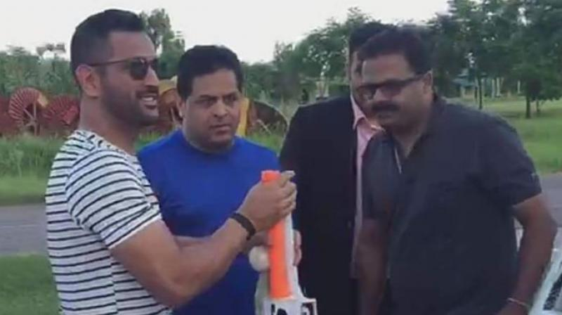 "For IPL matches, he (MS Dhoni) needs more curve on the bats and more round toe. Normally for India games, he uses different bats,"" said Vikram Thakur (extreme right), Export Manager of Spartan Sports India. (Photo: Deccan Chronicle)"