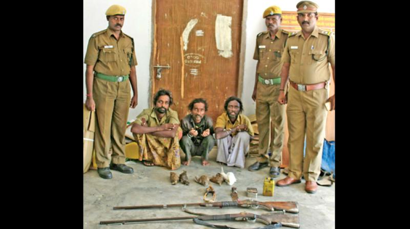 TN forest department cops with poachers (Photo: DC)