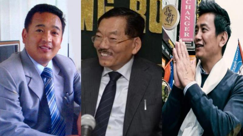 (L-R) PS Golay of opposition SKM, Pawan Chamling of ruling SDF, Bhaichung Bhutia of HSP stood as the prominent contenders in the state elections. (Photo: File)