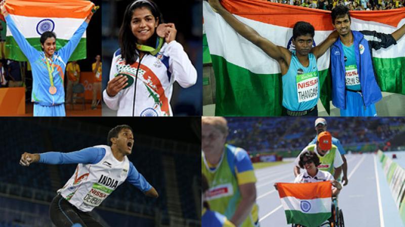 India won 6 medals across Rio Olympics and Rio Paralympics after Mariyappan Thangavelu, Devendra Jhajharia, PV Sindhu, Deepa Malik, Sakshi Malik and Varun Singh Bhati made the country proud with their solid show. (Photo: AP / AFP / PTI)