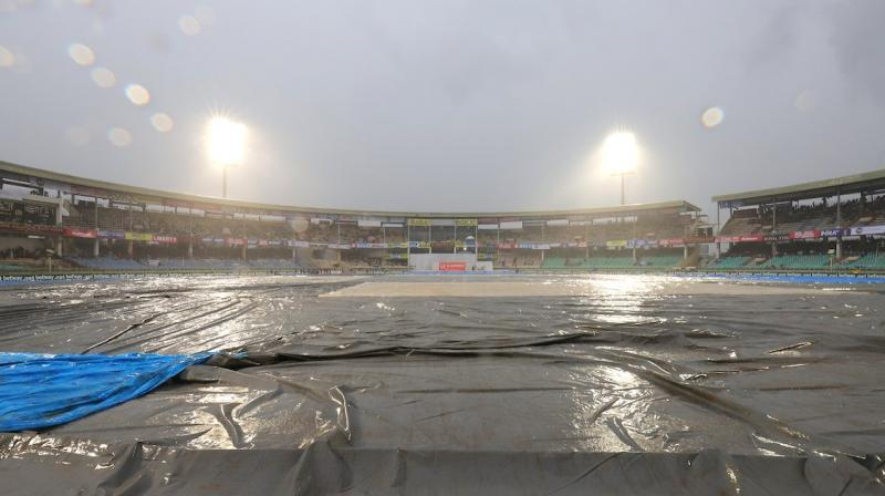 Rain stopped play in the opening Test between India and South Africa here on Wednesday. (Photo:BCCI/Twitter)