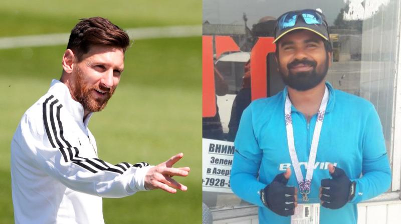 Lionel Messi fan from Kerala cycles all the way to Russia for FIFA World Cup 2018