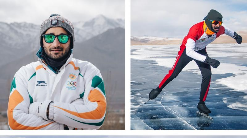 Today, he has put India on the world map by becoming India's fastest distance ice skater in long-track speed skating. (Photo: Vishwaraj R Jadeja/Ayesha Parikh)