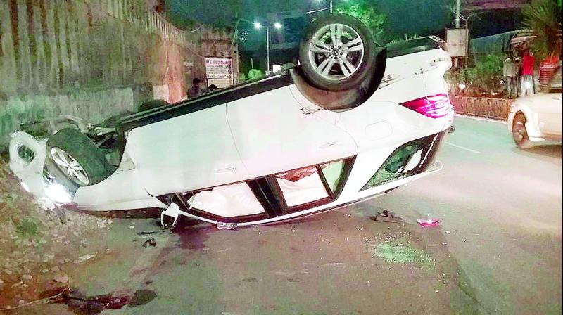The car in which Rahul and Sai Charan were travelling turned turtle after hitting a pole (Photo: DC)