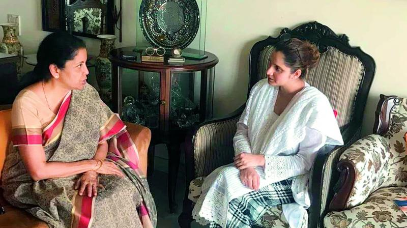 Defence minister Nirmala Sitharaman meets tennis star Sania Mirza on Saturday as part of the BJP's recently-launched initiative 'Sampark for Samarthan'.
