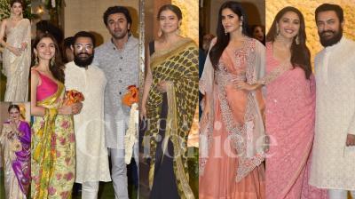 On the occasion of Ganesh Chaturthi 2019, Bollywood celebrities like Aamir Khan, Madhuri Dixit-Nene, Kajol, Ranbir Kapoor, Alia Bhatt, Jackie Shroff, Anil Kapoor, Suniel Shetty, Katrina Kaif, Kriti Sanon and others visited Business tycoon, Mukesh Ambani and Nita Ambani's house, Antilia in Mumbai to seek lord Ganesha's blessings. (Photos: Viral Bhayani)