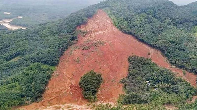 Areal view of landslide-hit Kavalappara in Malappuram district