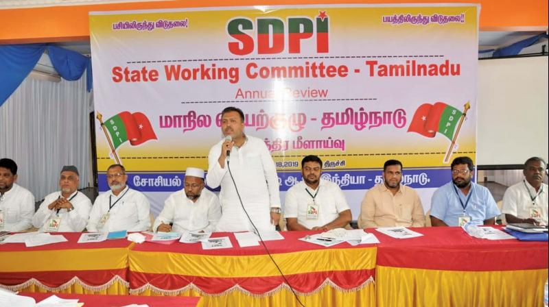 SDPI's National General Secretary Abdul Majid addressing the party's TN state executive at Tiruchy.