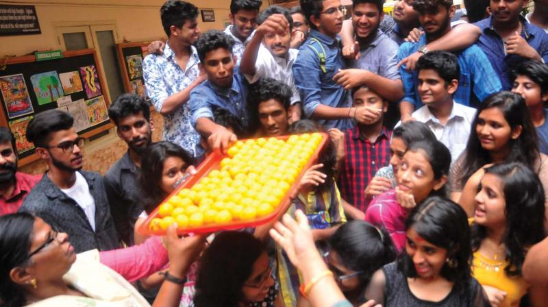 The students of Saraswathi Vidyalaya ,Vattiyoorkavu, celebrate  after CBSE class XII  results were announced on Saturday     (Photo: A.V. Muzafar)