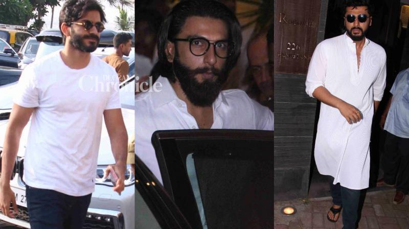 Bollywood celebrities were seen arriving at a prayer meet that was held on Monday in Mumbai in memory of Sonam Kapoor's grandmother Draupadi Hingorani Bhambani, who passed away on 29 April. (Photo: Viral Bhayani)