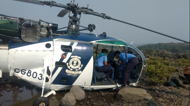 Coast guard helicopter crash lands near Nandgaon, female pilot injured