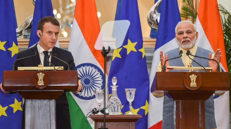 French President Emmanuel Macron accords the ceremonial reception at Rashtrapati Bhavan