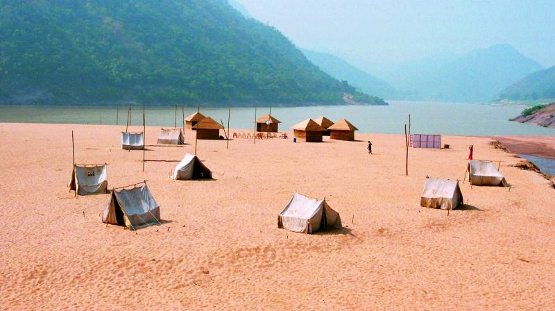 Tourist huts at the Papi Hills which will be submerged in Polavaram backwaters.