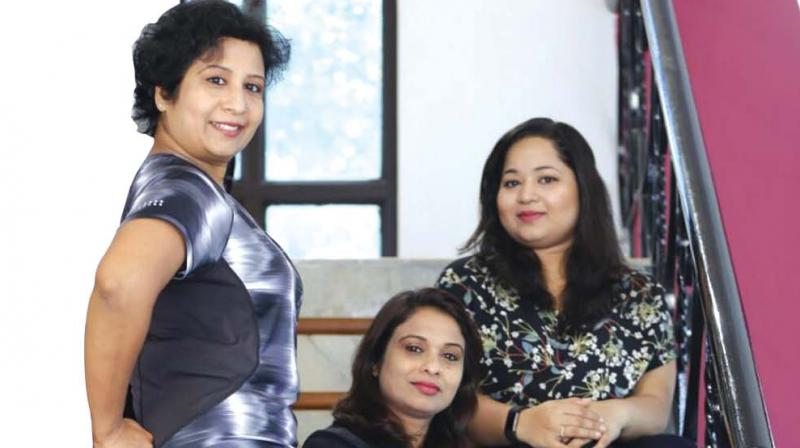 (From left to right)The co-founders of I love 9 Months, Ganga Raj, Suma Ajith and Anjali Raj.