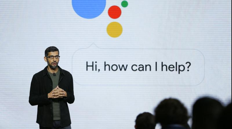 Google CEO Sundar Pichai talks about Google Assistant during a product event in San Francisco. Google is likely to again put artificial intelligence in the spotlight at its annual developers conference. (Photo:AP)