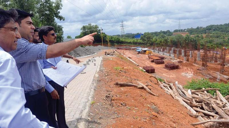 District collector S. Suhas along with officials at the construction site to assess the progress of work  (Photo: DC)