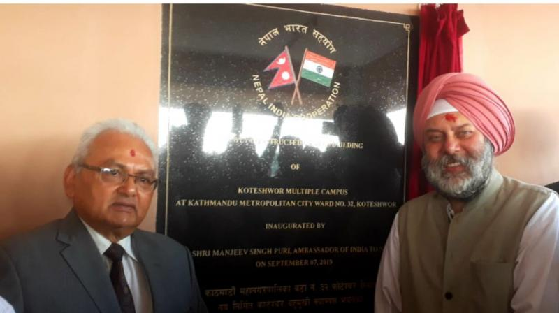 Ambassador Manjeev Singh Puri, today, inaugurated the building of Shree Koteshwor Multiple Campus, Kathmandu, built at a cost of NRs 4.5 crore under India-Nepal Development Partnership.   (Photo:Twitter | @IndiaInNepal)