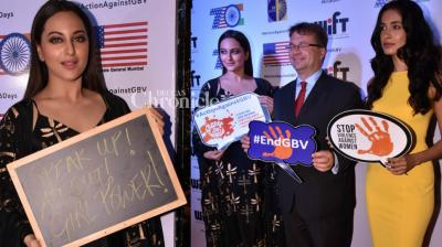 Sonakshi Sinha and Sarah Jane Dias spoke out against the issue of gender-based violence at an event held at the USA Consulate in Mumbai on Friday. (Photo: Viral Bhayani)