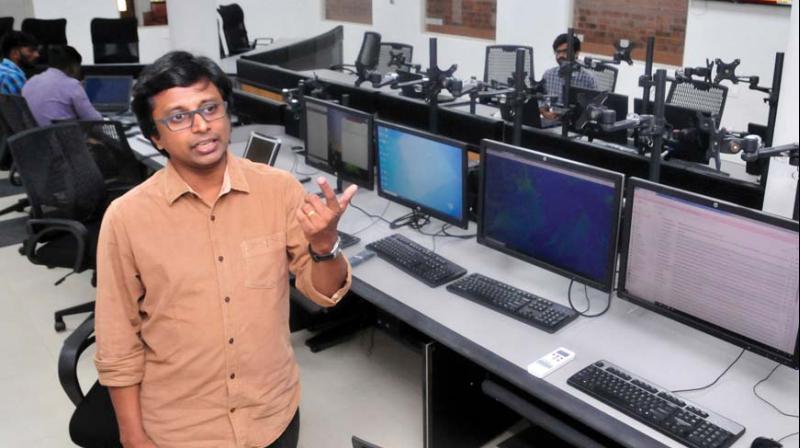 KSDMA member-secretary Sekhar Lukose Kuriakose at the control room of the newly-inaugurated state disaster management authority headquarters in Thiruvanthapuram on Wednesday.         (Photot: A.V.MUZAFAR )