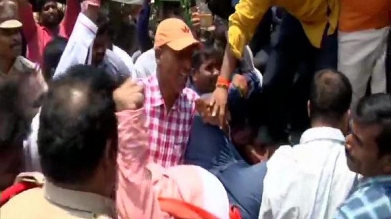 Some students along with parents were also present at the protest site. (Photo:ANI)